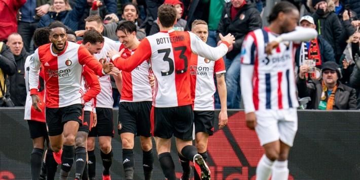 Feyenoord blijft in titelstrijd na zakelijke overwinning op Willem II