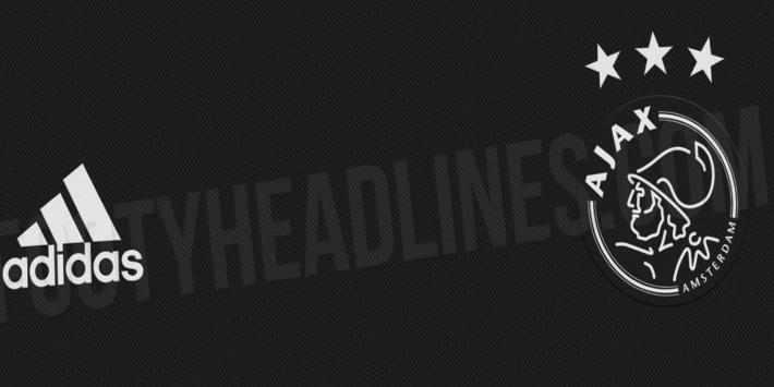 Uitgelekte beelden derde tenue Ajax: zwart met witte logo's