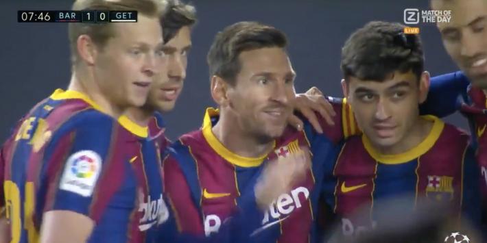 Video: Messi opent de score na sublieme assist Busquets