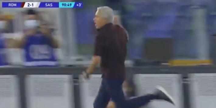 Video: Mourinho wint 1000e wedstrijd en doet rennend ereronde