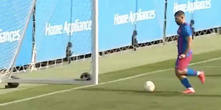 In beeld: het allereerste doelpunt van Agüero voor FC Barcelona