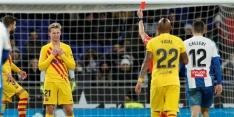 Barcelona speelt gelijk bij Espanyol na eerste rode kaart De Jong