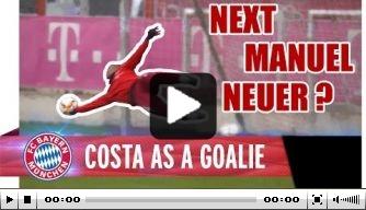 Video: Bayern-aanvaller Douglas Costa kan ook keepen