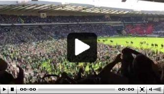Video: Hibernian-fans bestormen veld na bekerwinst