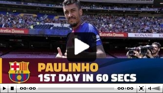 Video: de eerste dag van Paulinho bij Barça in één minuut