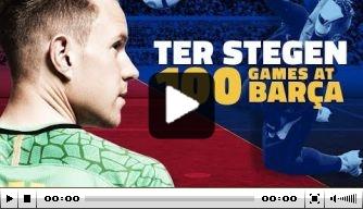 Video: FC Barcelona viert jubileum van Ter Stegen