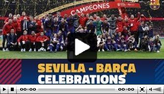 Video: spelers Barcelona vieren feest na winnen Copa del Rey