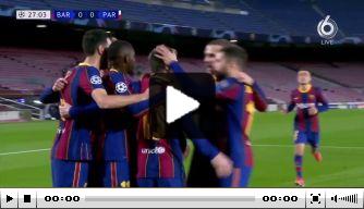 Video: Messi opent score met snoeiharde pingel tegen PSG