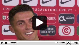 Video: recordbreker Ronaldo verlaat interview voortijdig