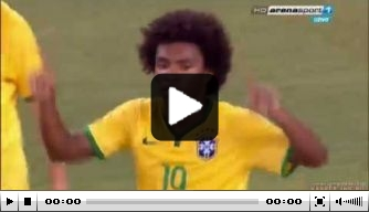 Video: Willian drukt af na heerlijke assist Neymar
